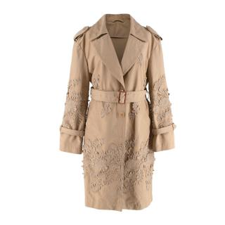Ermanno Scervino Embroidered Camel Trench Coat