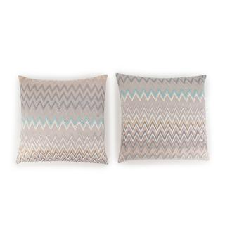 Missoni Home Silver Tone Zig-Zag Embroidered set of 2 Cushions
