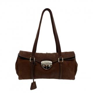 Prada Brown Nubuck Sound Lock Shoulder Bag