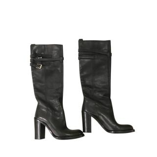 Gucci Black Leather Buckle Detail Knee Boots