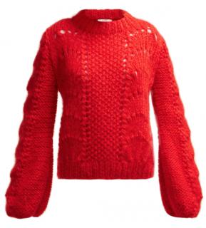 Ganni Red Julliard mohair knit sweater