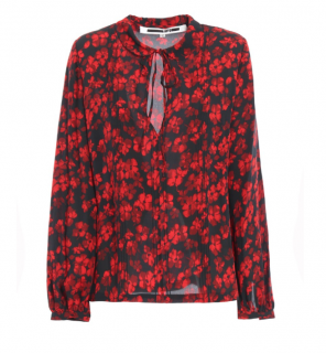 McQ by Alexander McQueen Red & Black Floral Blouse