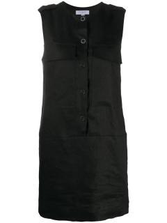Equipment Black Linen Sleeveless Utility Mini Dress