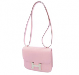 Hermes Pale Pink Epsom Leather Mini Constance 18 PHW