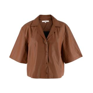 Tibi Tan Tissue Faux Leather Short Sleeve Cropped Shirt