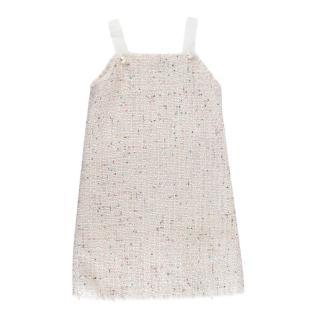 Ermanno Scervino Junior Ivory Tweed Sequin & Pearl Embellished Dress
