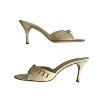 Gucci by Tom Ford Beige Gold Tone Bamboo Mules