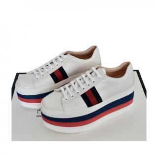 Gucci White Web Platform Chunky Sneakers