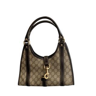 Gucci Vintage Leather Trimmed GG Jackie Bag