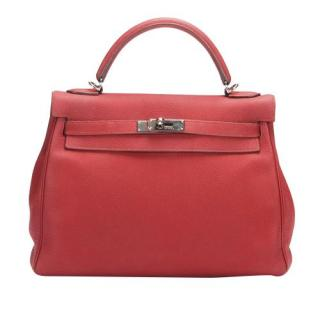 Hermes Red Clemence Leather Kelly Retourne 32