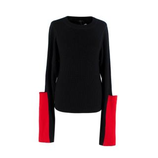 Joseph Black & Red Fine Waffle Merino Wool Sweater