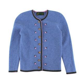 Haus des Jagers Kids Light Blue & Floral Detail Merino Wool Cardigan
