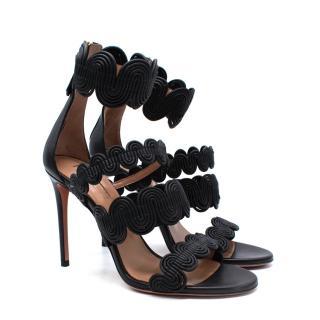 AQUAZZURA Black Leather Jodhpur Swirl Sandals