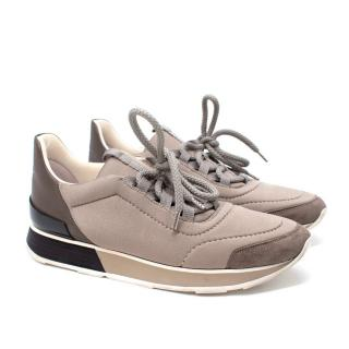 Hermes Taupe Low-Top Buster Sneakers