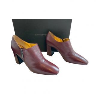 Bottega Veneta Burgundy Leather Ankle Boots