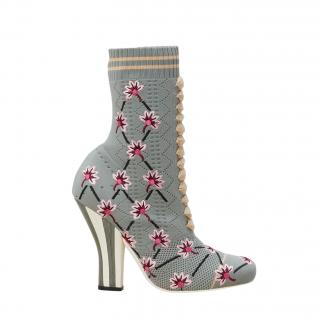 Fendi Floral-embroidered Striped-heel Sock Boots