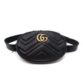 Gucci Black GG Marmont Leather Belt Bag - Size 85