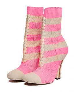 Fendi Pink Striped Rockoko Knit Ankle Boots