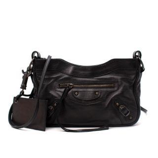 Balenciaga Black Lizard Embossed Leather City Hip Bag