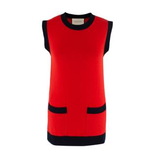 Gucci Red & Navy Knitted Wool & Cashmere Sleeveless Top