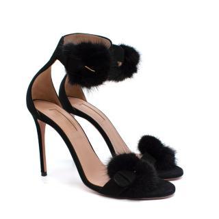 Aquazzura Black 105mm Sinatra Fur & Suede Sandals