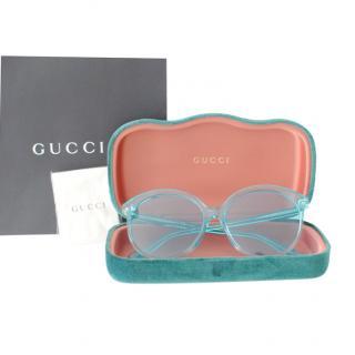 Gucci Blue Clear Perspex Sunglasses