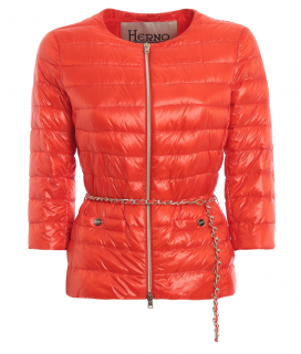 Herno Orange Iconico Padded Chain Strap Jacket