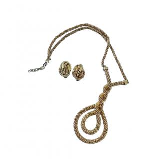 Christian Dior Vintage Gold Plated Twist Earrings & Pendant Necklace