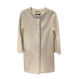 Max Mara Studio Off White Virgin Wool Coat