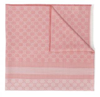 Gucci Pink GG Reversible Wool & Silk Scarf