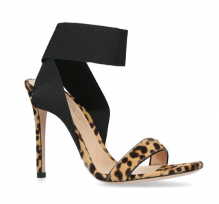 Gianvito Rossi Dionne Leopard Pony Hair Elastic Strap Pumps