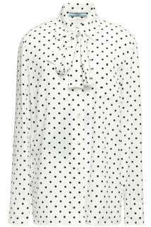Prada Ivory Spotted Pussybow Blouse