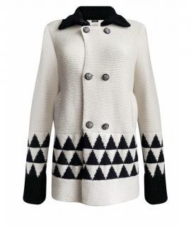Chanel Ecru & Black Intarsia Cashmere Knit Coat