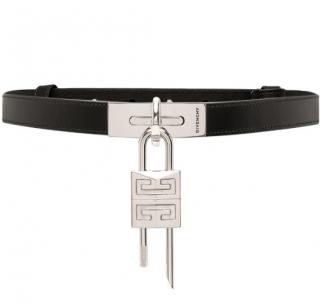 Givenchy Black Leather Lock Belt - Size 70