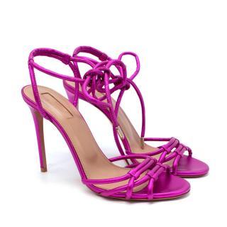 Aquazzura Laura Metallic Pink Leather Heeled Sandals
