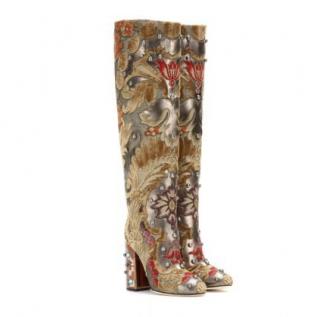 Dolce & Gabbana Velvet Embellished Brocade Boots