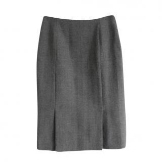 Christian Dior by John Galliano Grey Felted Wool Skirt