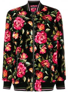 Dolce & Gabbana Floral Print Velvet Bomber Jacket
