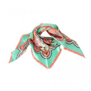 Etro Green Silk Paisley Print Triangle Scarf