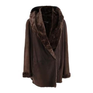 Vince Chocolate Brown Hooded Shearling Coat