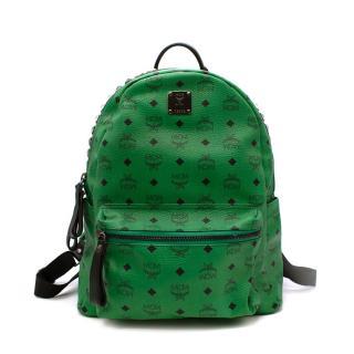 MCM Stark Studded Green Leather BackPack Medium