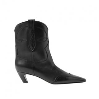 Khaite Black Dallas leather ankle boots
