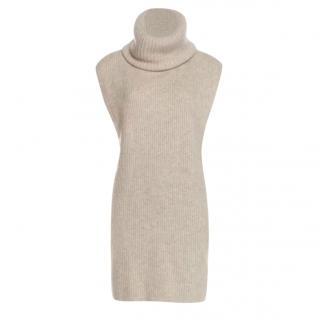 Joseph grey ribbed knit roll neck sleeveless jumper dress