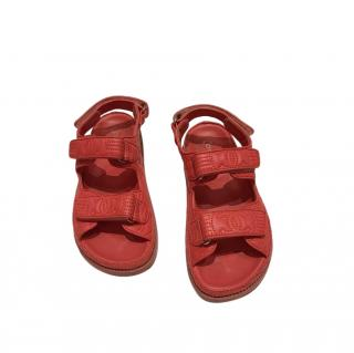 Chanel red leather embroidered dad sandals