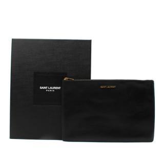 Saint Laurent Black Glossy Leather Large Flat Pouch