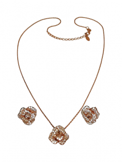 Fei Lu Rose Gold Plated Crystal Peony Flower Earrings & Necklace