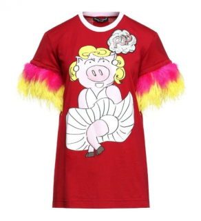 Dolce & Gabbana Red Feather Trimmed Limited Edition Piggy T-Shirt