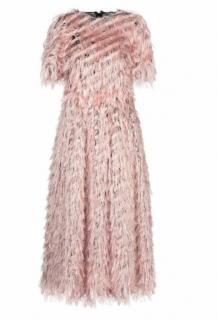 Dolce & Gabbana Blush Fringed Metallic Midi Dress
