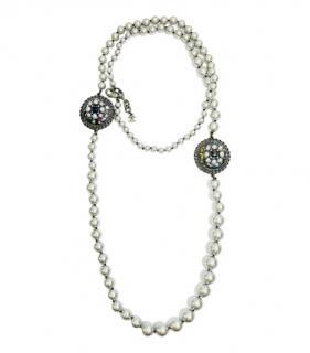 Chanel Faux Pearl Silver Tone Gripoix Pendant Necklace