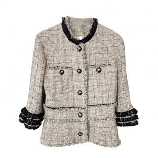 Chanel Ruffled Lace Trim Lesage Tweed Jacket